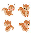 adorable squirrels collection in modern flat style vector image