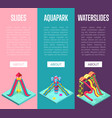 aquapark waterslides isometric vertical flyers vector image vector image