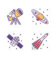 astronomy color icons set space exploration vector image