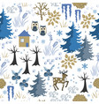 awesome winter seamless pattern with house in vector image vector image