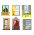 balconies in different styles with cast iron or vector image vector image