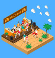 beach bar isometric composition vector image vector image