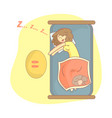 beautiful girl and her cat sleeping in bed vector image