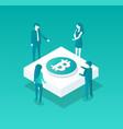 blockchain meeting people vector image vector image