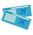 blue blank of plane ticket vector image vector image