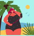 body positive plus size girl is taking selfie vector image vector image
