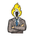 burning match businessman sketch engraving vector image vector image