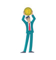 businessman holding a giant coin with btc symbol vector image