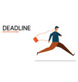 businessman running management time in deadline vector image vector image