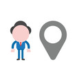 businessman with map pointer vector image