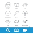 Car key repair tools and manual gearbox icons vector image vector image