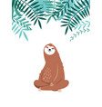 cute sleepy sloth adorable animal rainforest vector image vector image