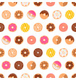 doodle donuts pattern on white background vector image vector image