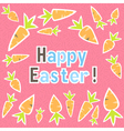 Easter carrots card on a pink vector image vector image