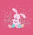 easter greeting card with bunny eggs and willow vector image vector image