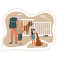 family adopting dog from animal shelter girl with vector image vector image