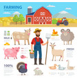 farming infographic elements farmer farm animals vector image