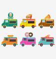 fast food trucks set of street shops on van vector image