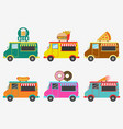fast food trucks set street shops on van vector image vector image