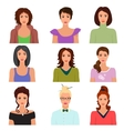 female woman character faces avatars vector image vector image