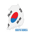 flag and map of south korea vector image vector image