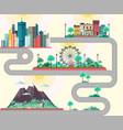 flat design of modern city mountains landscae vector image