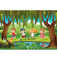 Four kids running in the park vector image vector image