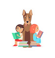 girl and boy sits on two pile of books with dog vector image vector image