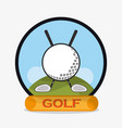 golf ball clubs emblem vector image vector image