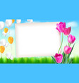 greeting card with tulips around sheet of vector image