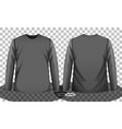grey or black long sleeve t-shirt front and back vector image