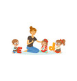 group of preschool kids and teacher sit on carpet vector image vector image