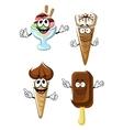 Ice cream cones stick and sundae vector image