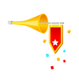 icon horn and flag vector image