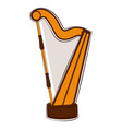 isolated harp sketch musical instrument vector image vector image