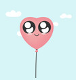 kawaii heart balloon vector image