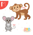 Letter M Cute animals Funny cartoon animals in vector image vector image