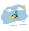 man riding on snowboard extreme winter sport vector image vector image