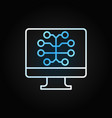 pc with brain colored line icon on dark vector image vector image