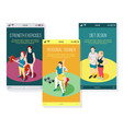 personal trainer isometric mobile screens vector image vector image