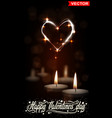 realistic valentines day candles with shiny heart vector image