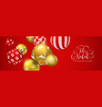 red christmas ball banner in portuguese language vector image vector image