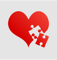 red pieces puzzle of romantic heart one piece vector image vector image