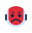 robot face icon angry face emotion robotic emoji vector image vector image