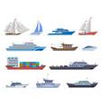 sailboat ships sea transportation boats cargo vector image vector image