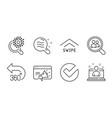 seo marketing verify and swipe up icons set vector image vector image