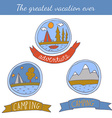 Set of doodle camping badges vector image vector image