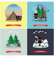 set of wild north posters banners in flat vector image vector image