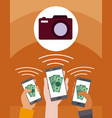 shopping online from smartphone vector image vector image
