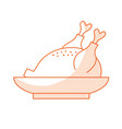 silhouette delicious chicken food with natural vector image